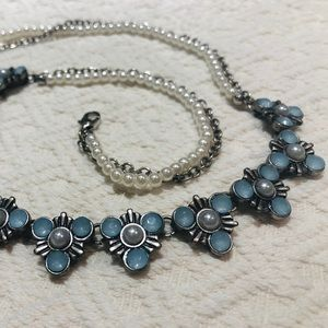 5/$30 Silver Necklace with  Blue & Pearl Details